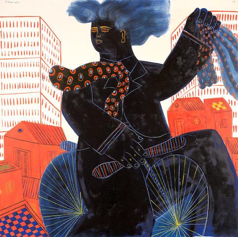 Alecos Fassianos (Greek, born 1935) Cyclist 120 x 120 cm.