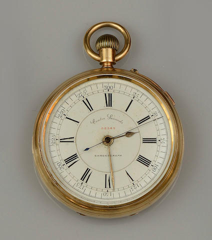 An 18ct gold open face chronograph pocket watch