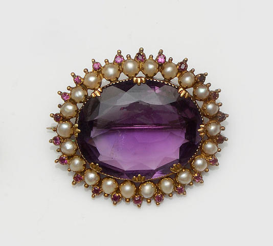 An amethyst, ruby and half pearl brooch