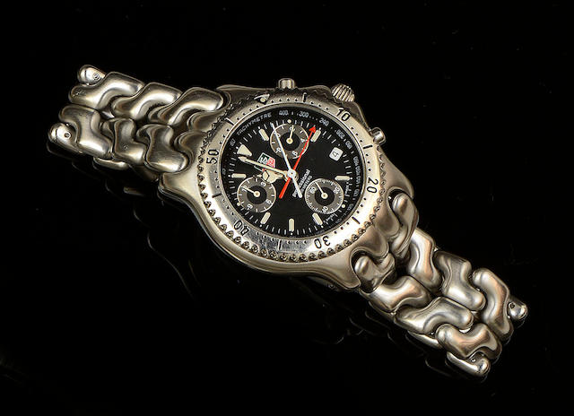 Tag Heuer: A gentleman's stainless steel chronograph wristwatch
