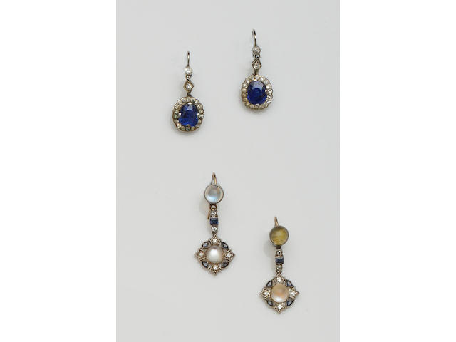 Two pairs of gem set earpendants (2)