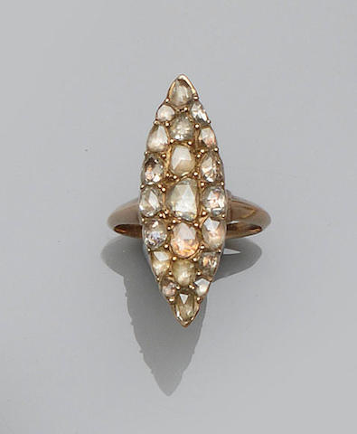 A 19th century marquise-shaped ring