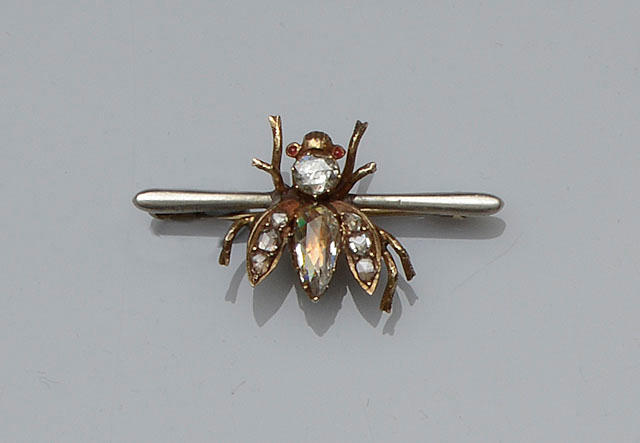 A diamond set insect brooch
