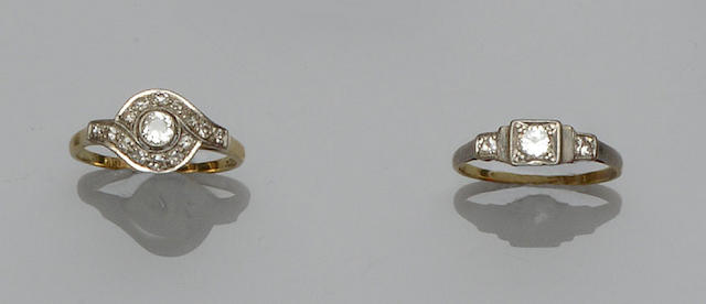 Three diamond set rings (3)
