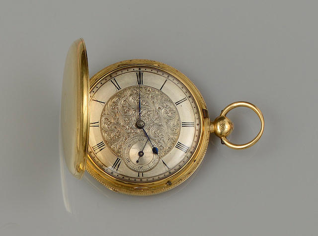 An early Victorian 18ct gold hunter pocket watch