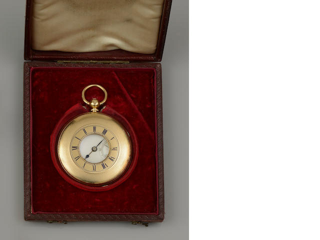 An 18ct gold half hunter pocket watch