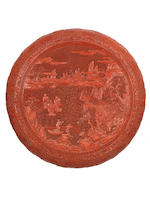 A rare large 'Immortals' cinnabar lacquer box and cover  Qianlong
