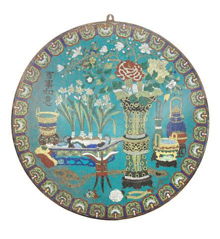 A large cloisonné enamel circular plaque Qianlong/Jiaqing