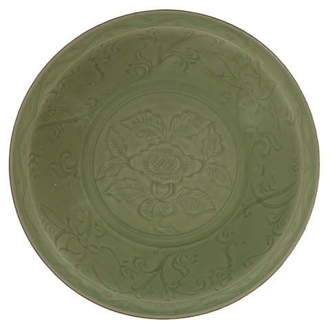 A large green-glazed dish 14th century