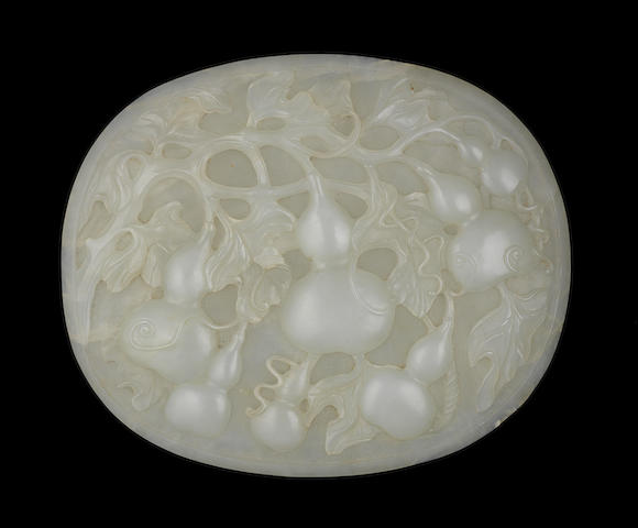 A white jade 'double-gourd' plaque 18th/19th century