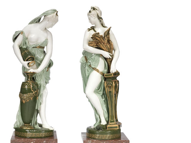 A massive pair of Minton Renaissance Figures by Albert Carrier de Belleuse, with marble plinths, dated 1876