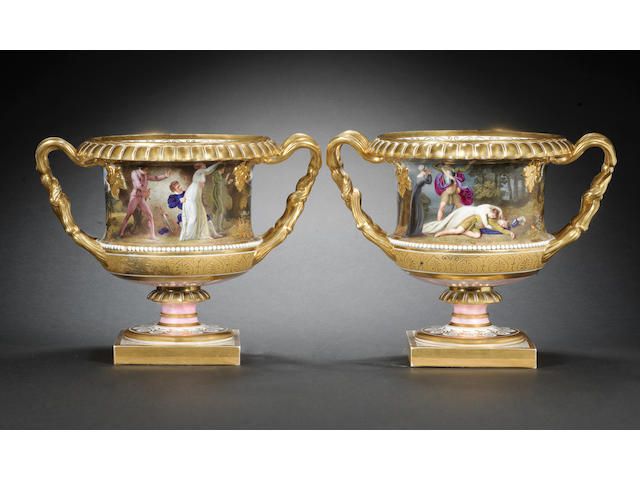 An important pair of Flight, Barr and Barr vases with theatrical scenes by Thomas Baxter, circa 1814-16