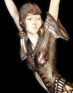 Demetre Chiparus  'Alméria' a Large and Impressive Cold-painted Bronze and Carved Ivory Sculpture, circa 1925