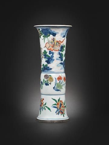 A wucai flaring vase, gu Shunzhi