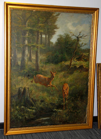 Continental School, 19th Century Deer in woodland