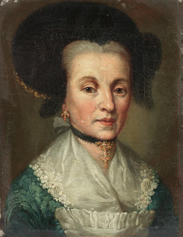Circle of Johann Heinrich Tischbein (Haina 1722-1789 Kassel) Portrait of a lady, bust-length, in a blue dress and black headdress