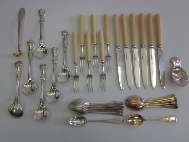 Six American silver Queen's pattern bouillon spoons by Tiffany & Co, also marked STERLING PAT.1885 together with other silver items (Qty)