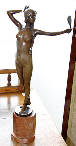Lavergne A patinated bronze study of a nude girl, circa 1920