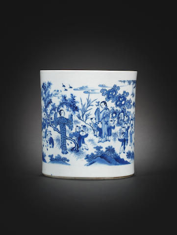 A blue and white brush pot, bitong Kangxi