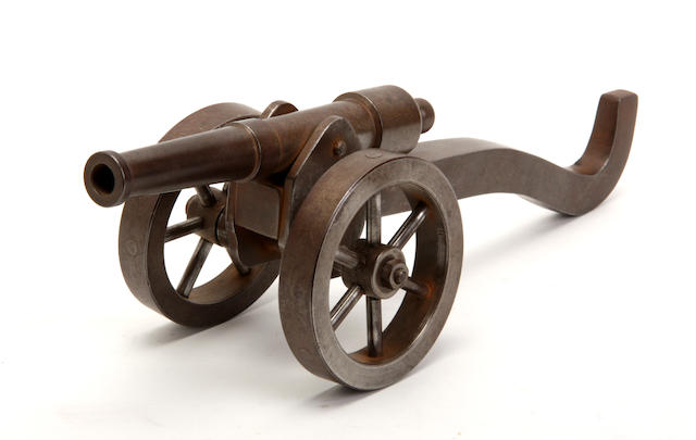 An early 20th century steel model of a cannon