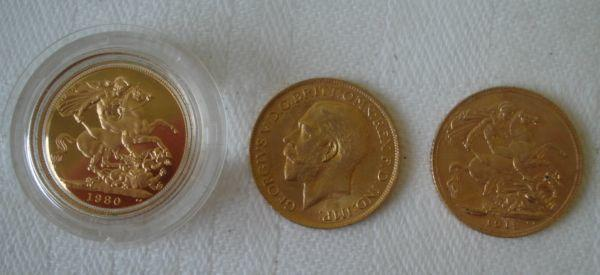 A 1980 proof gold sovereign, and two other sovereigns, 1912 and 1913. (3)