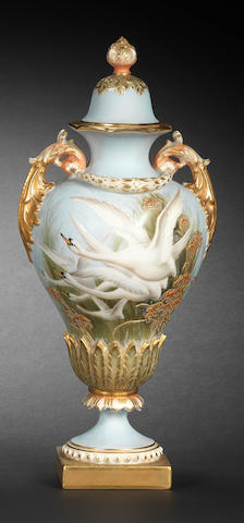 A Royal Worcester vase and cover by George Johnson, dated 1911