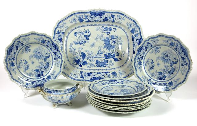 A Staffordshire blue printed part dinner set Circa 1830