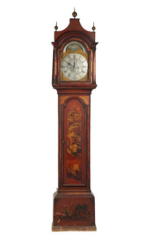 An early 18th century red lacaquered moon pharse eight day long case clock