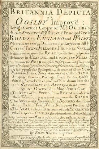 OWEN (JOHN) and EMANUEL BOWEN Britannia Depicta or Ogilby Improv'd, 1720 [1723?]