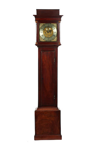 An early 18th century figured mahogany 8 day loncase clock Thomas Baddeley. Bath.