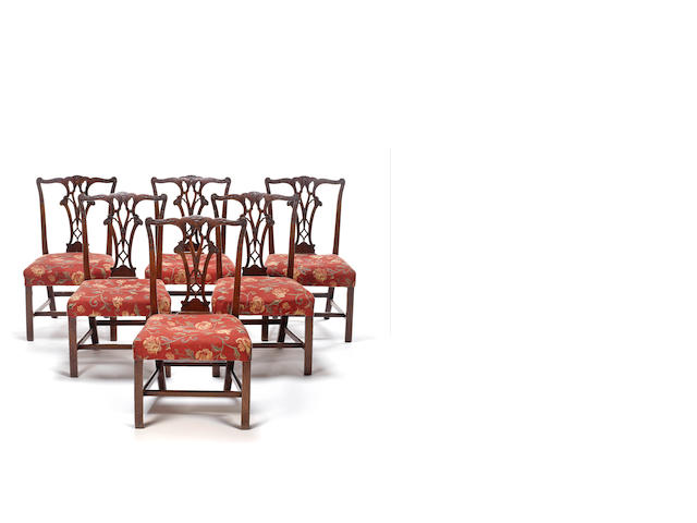 A set of six George III mahogany dining chairsin the Chippendale Gothick taste