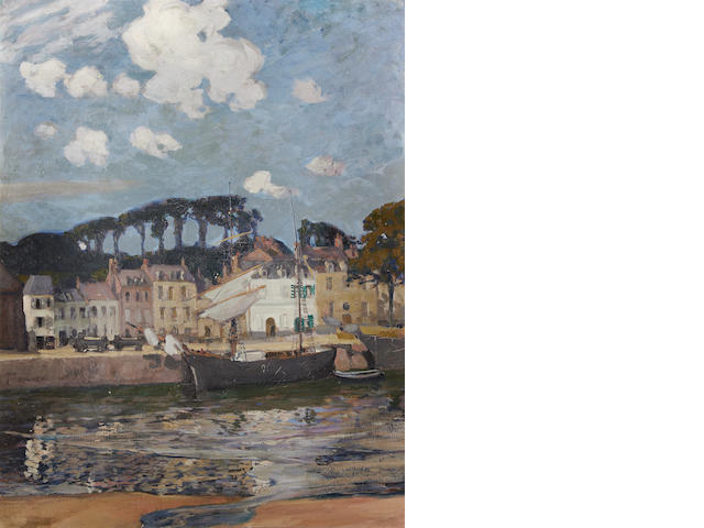 Oil on canvas of boat in a harbour St Valerie Sur Somme