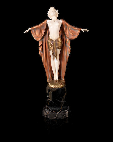 Ferdinand Preiss (1892-1943) 'Spring Awakening' a Good Carved Ivory and Cold-painted Bronze Sculpture, circa 1925