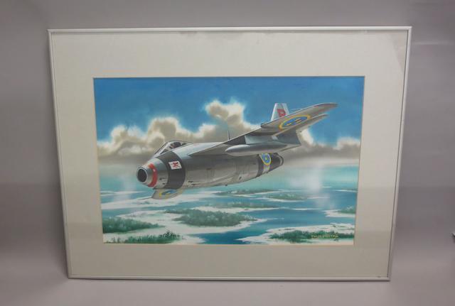 Thijs Postma, Dutch, (1934- ), 'Saab 29 - The Flying Barrel',