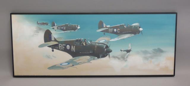 Thijs Postma, Dutch, (1934- ), 'RAAF Boomerangs in flight',