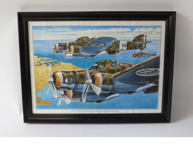 Rens Biesma, Dutch, (1944- ), 'Savoi-Marchetti S-79',