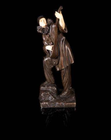 Demetre Chiparus (1886-1947) 'Pierrot' a Carved Ivory and Patinated Bronze Sculpture, circa 1925