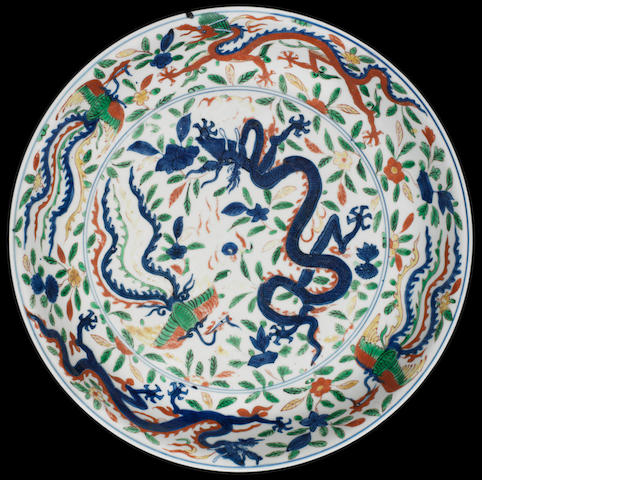 A rare wucai 'dragon and phoenix' dish Wanli six-character mark and of the period