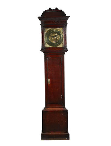 Georgian long case clock/Sam Cocks Worcester with brass dial case with dentil cornice height 210com