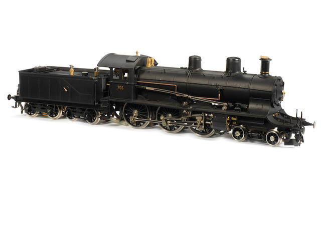Aster gauge I liver steam SBB A 3/5 4-6-0 4 cylinder Compound locomotive No.705 and bogie tender