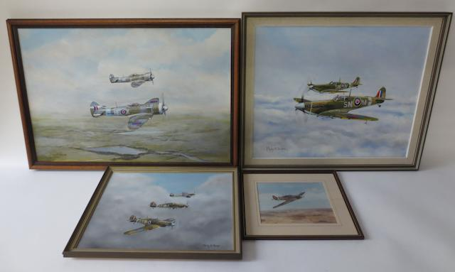 Three aviation paintings by Philip M Sharpe,