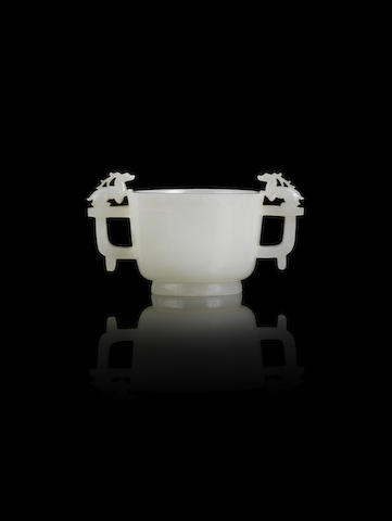 A white jade two-handled cup, Qianlong mark 5cm high