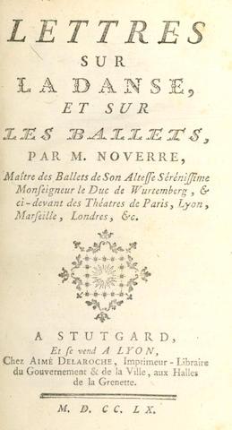 BALLET]  NOVERRE (JEAN GEORGES) Lettres sur la danse et sur les ballets, 1760