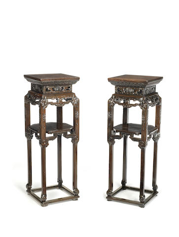 A pair of zitan 'elephant' stands 19th century