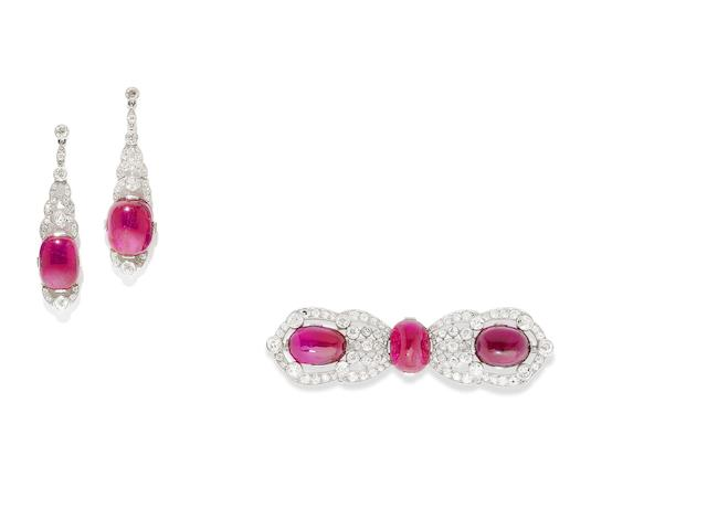 An art deco ruby, tourmaline and diamond brooch and earring suite, by Van Cleef & Arpels, (2)
