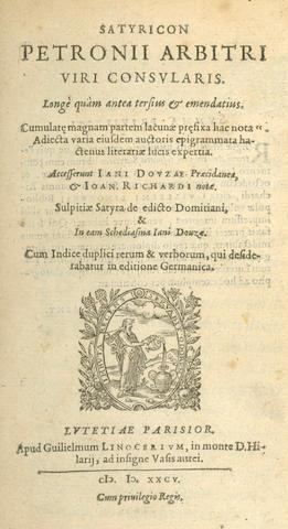 PETRONIUS ARBITER Satyricon, 2 parts in one vol., Paris, 1585
