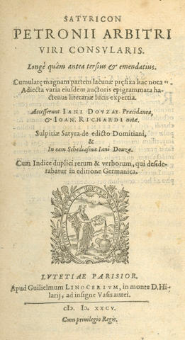 PETRONIUS ARBITER Satyricon, 2 parts in one vol., Paris, 1585