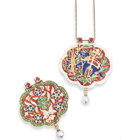 A champlevé enamel and pearl pendant, by Carlo and Arthur Giuliano,