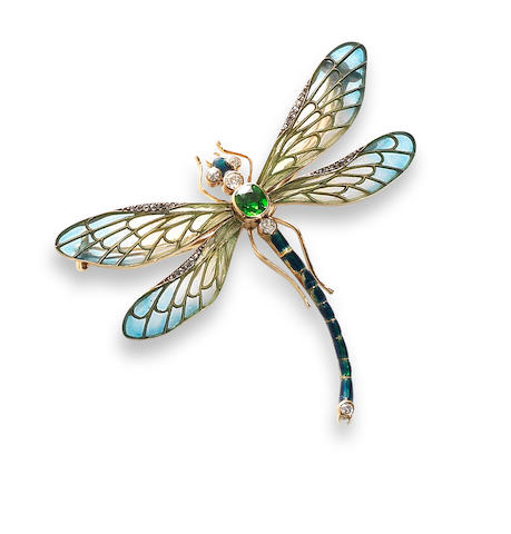 An enamel, demantoid garnet and diamond dragonfly brooch,