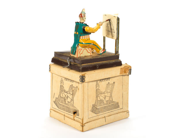 Boxed Vielmetter tinplate mechanical drawing clown 'The Artist', a late 19th Century